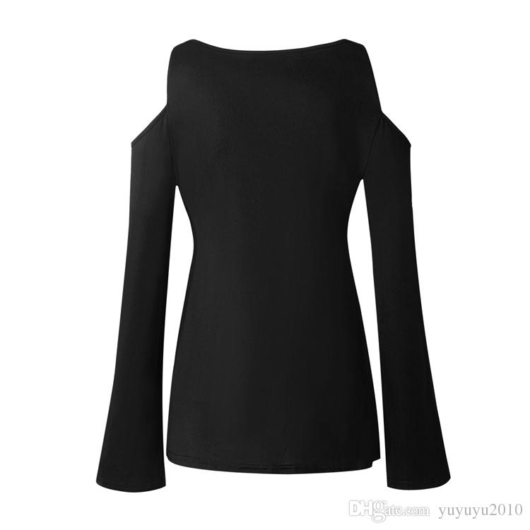 Autumn Long Sleeve Off Shoulder V-neck Sexy Women T-shirt White Black Lace Plus Size T Shirt Female Casual Fall Tops 4XL 5XL ONY171011
