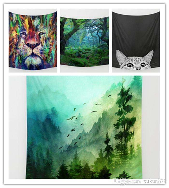 New Lion Forest Tapestry Background Yoga Home Cloth Beach Towel Living  OX08