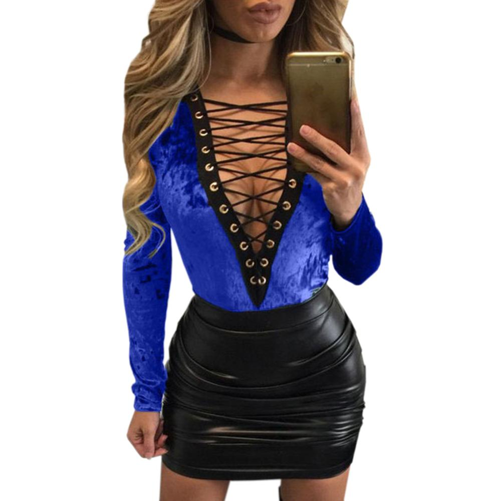 361ef30d8090 Sexy Women Bodysuit Plunge V Neck Lace Up Tie Front Stretch Playsuit  Leotard Jumpsuit Overalls Enteritos Mujer Club Wear WT32941 Sexy Women  Bodysuit Lace Up ...