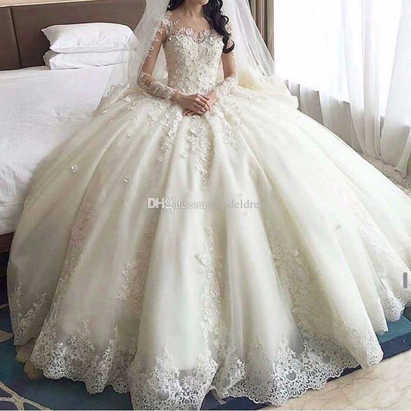 Vintage Lace Ball Gown Wedding Dresses Long Sleeve Sheer Neck Chapel Train Appliques Beaded Church Garden Bridal Gowns robe de mariée