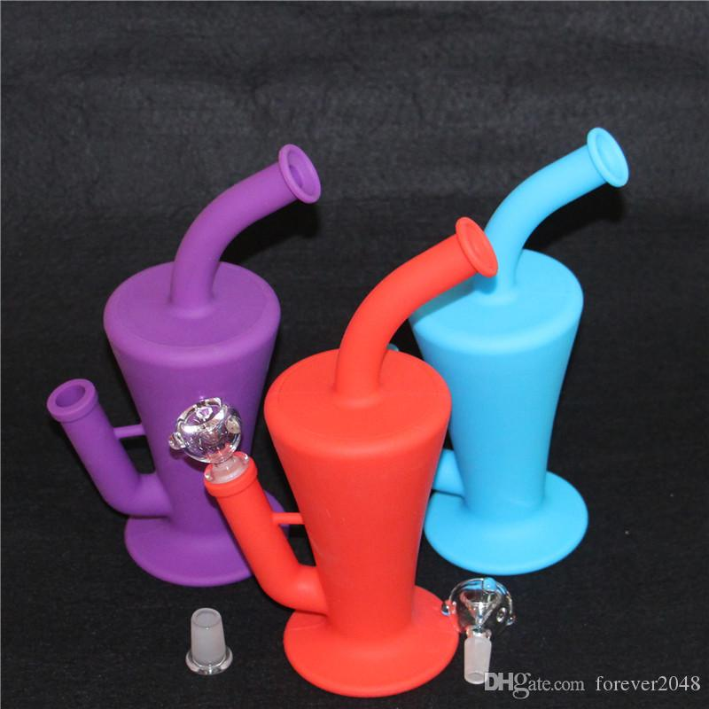 Wholesale Silicone Dab Concentrate Rig Oil Burner Bong Glass 10.5 inch Unbreakable Silicone Water Pipe Beaker Bongs