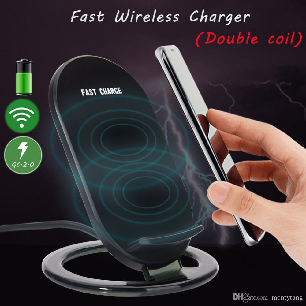 Universal Wireless Fast Charger Stand Holder With LED Indicator Light 2-Coils 9V 1.5A Fast Charging Stand For IPHONE8 PLUS Mobile Phone