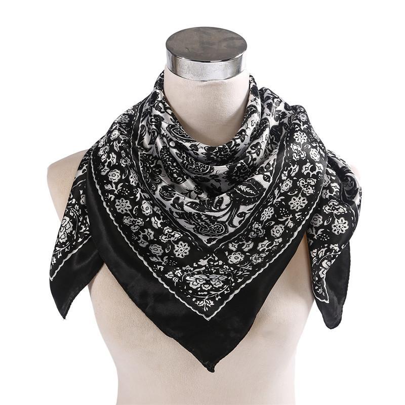 7bb6dbb58 Wholesale Fashion Bandana Motorcycle Turban Hijab Bandanas Headwear Women  Scarf Flower Floral Headscarf Satin Silk Scarves Black Red Silk Scarves  Silk Scarf ...