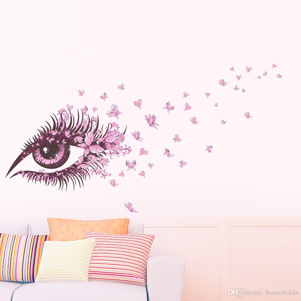 Sexy Fairy Flower Girl Eye butterfly LOVE heart 3d Vinyl Wall Sticker wall decal Home Decor Kids Room living room girls room decoration