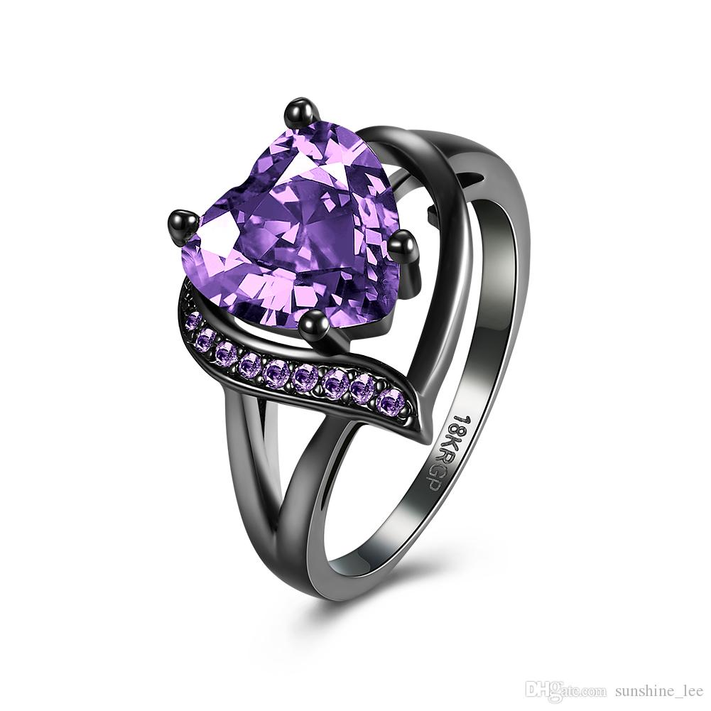 Amazing Fashion Rings Black Gun Plated CZ Crystals With Purple Heart Glass Crystal Stones Wedding Rings Jewelry