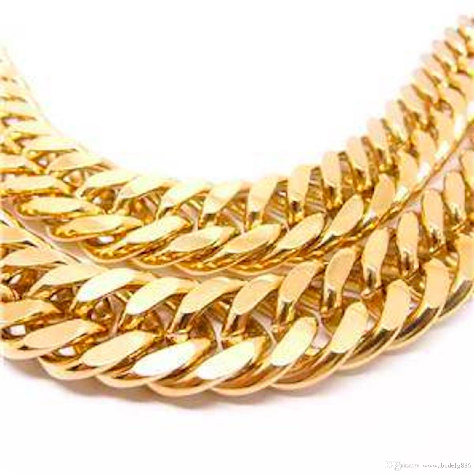 Frete grátis 18 K amarelo real sólido GOLD FILLED N28 CUBO DUPLO CURB CADEIA SÓLIDA MEA GEE COLAR de PRESENTE 23.6 polegada 10mm