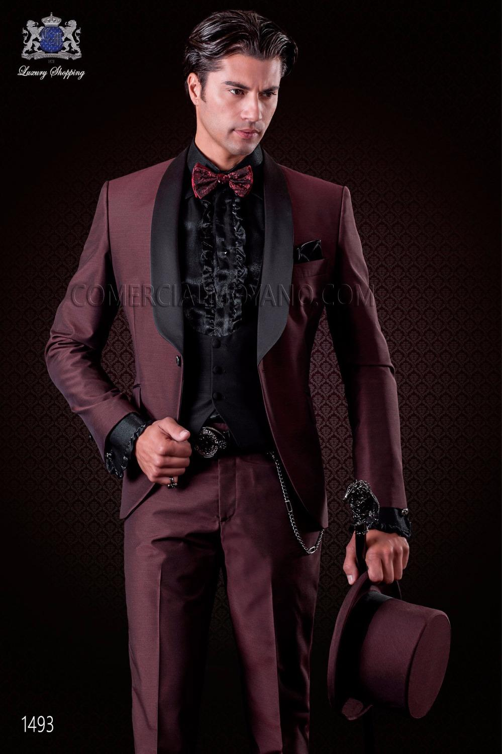 2019 Wholesale Latest Coat Pant Designs Burgundy Shawl Lapel Men Suit Slim  Fit Italian Tuxedo Custom Stylish Suit Terno Masculino From Blueberry13 2aafcf2a19a4