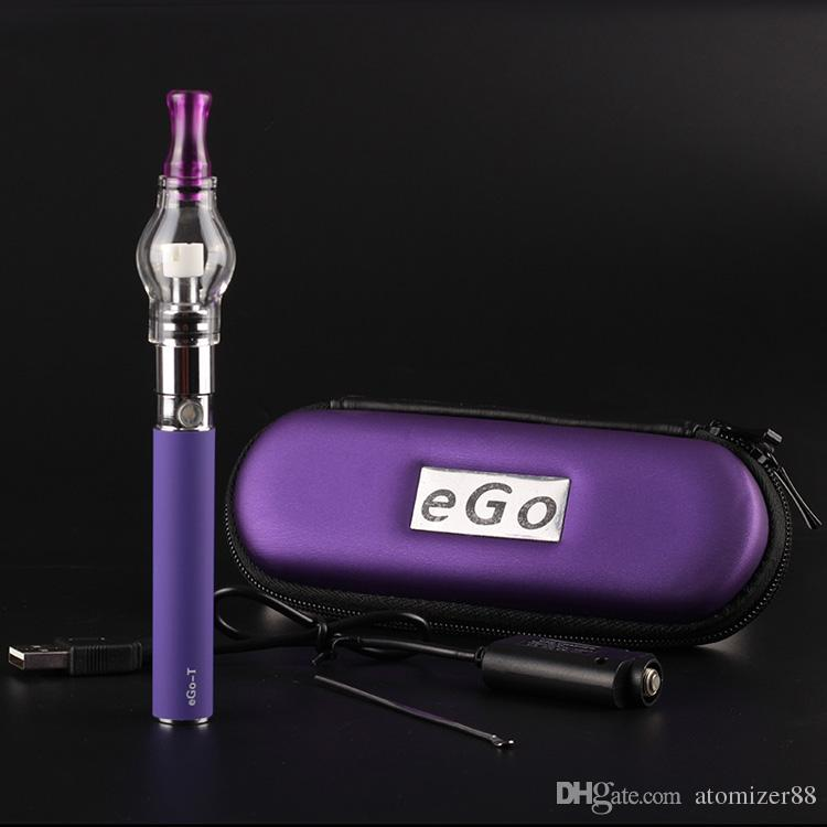 Ego starter kits with ego-t battery and M6 galss globe atomizr for wax dry herb vaporizer atomizer tank vape pen zipper case kit