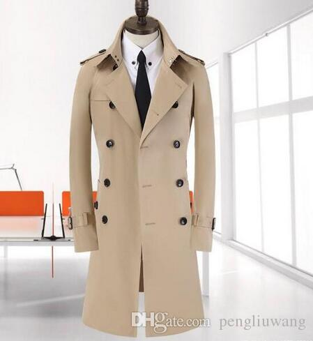 6acb9809797 2019 Beige Khaki 2017 Spring Trench Coat Men Autumn Fashion Casual Slim  Double Breasted Mens Trench Coat Overcoat Plus Size 8XL 9XL From  Pengliuwang