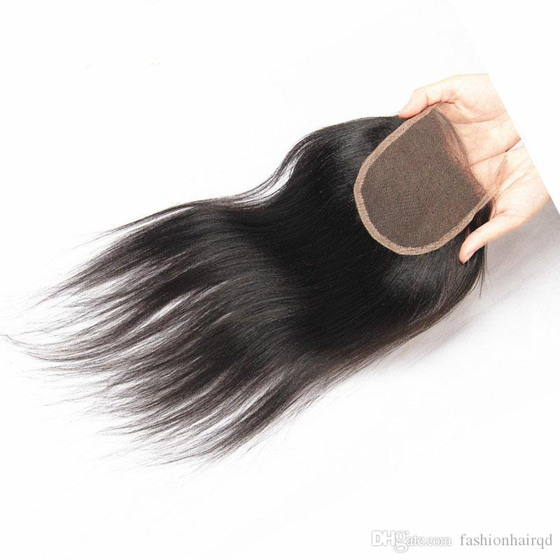 Brazilian Virgin Hair Italian Yaki Front Lace Closure 4*4 inch Natural Color Dyeable Unprocessed Human Hair Top Closure With Baby Hair
