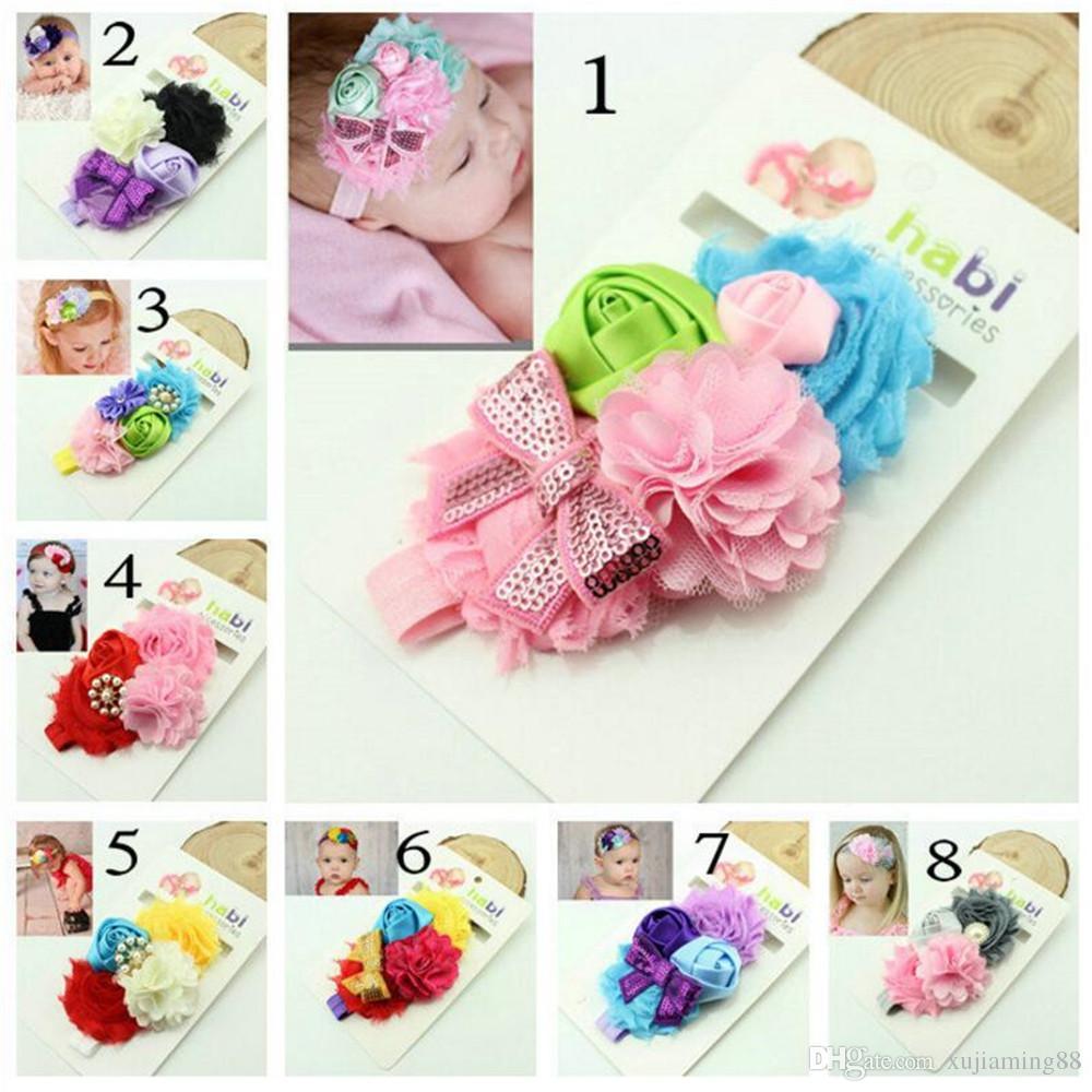 Flor Combinada Bow Infantil Headbands Menina Hairband Headwear Crianças Adereços Fotografia Bebê NewBorn Faixas de Cabelo Do Bebê Acessórios