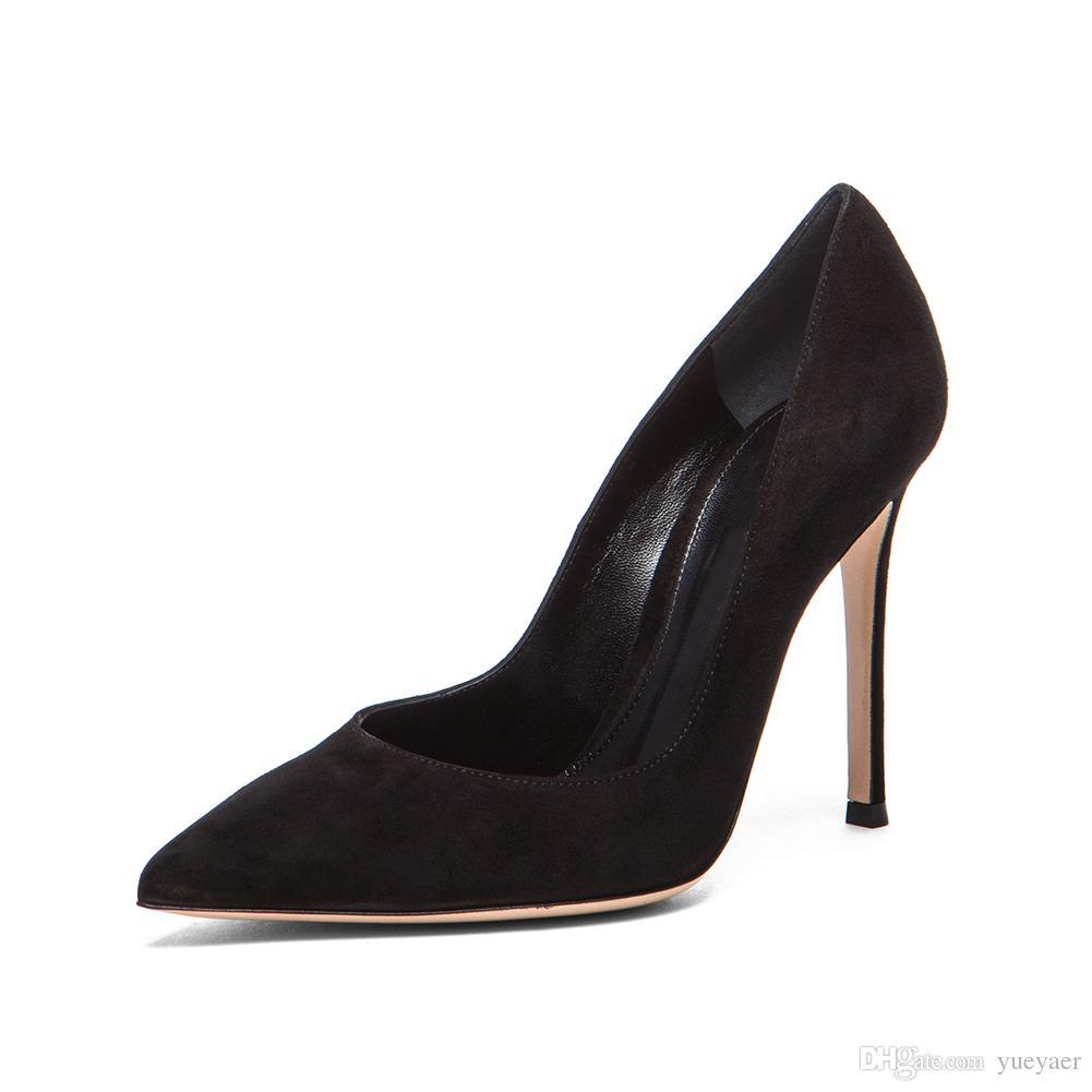 Zandina Dames À La Main De La Mode Élégant 100mm Pointu Basique Bureau Parti Prom High Heel Pumps Chaussures Noir Suede K341