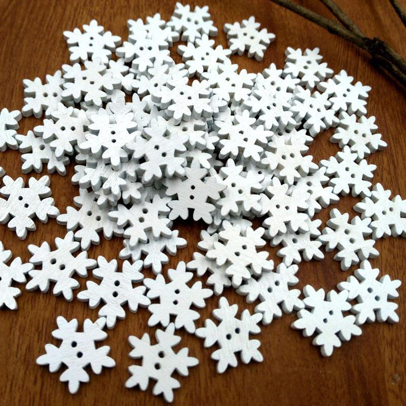 Home & Garden 100pcs Christmas Holiday Wooden Collection Snowflakes Buttons Snowflakes Embellishments 18mm Creative Decoration Arts,crafts & Sewing