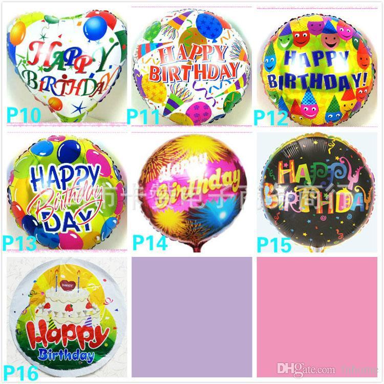 Ventas al por mayor 18 pulgadas Globo de papel de helio Feliz cumpleaños globo Niños fiesta de cumpleaños decoración globo estilo mezclado Envío gratis