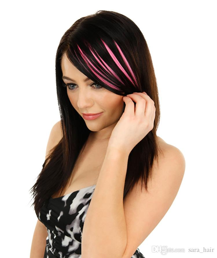 Sara U Nice Ombre Rainbow Clip in Bangs Fringe Oblique Bangs New Slim Franja Hair Piece Hairpieces Frange Front Bang Hair Extension