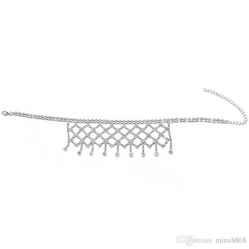 Para mujer de la borla choker collar de múltiples capas completo cz diamond crystal choker collar elegante joyería para el partido discoteca regalo al por mayor
