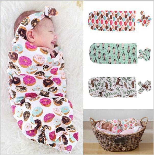 Baby Feather Printed Sleeping Bag Newborns Full Deer Cookies Spring Swaddle Blanket Wrap With Headband Children