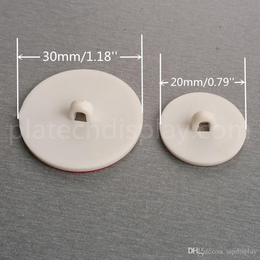 プラスチックテープステッカースタンドホワイトラウンドベースのポップディスプレイサインポスター店DIAのポスター。 3cmまたは2cm 100ピース