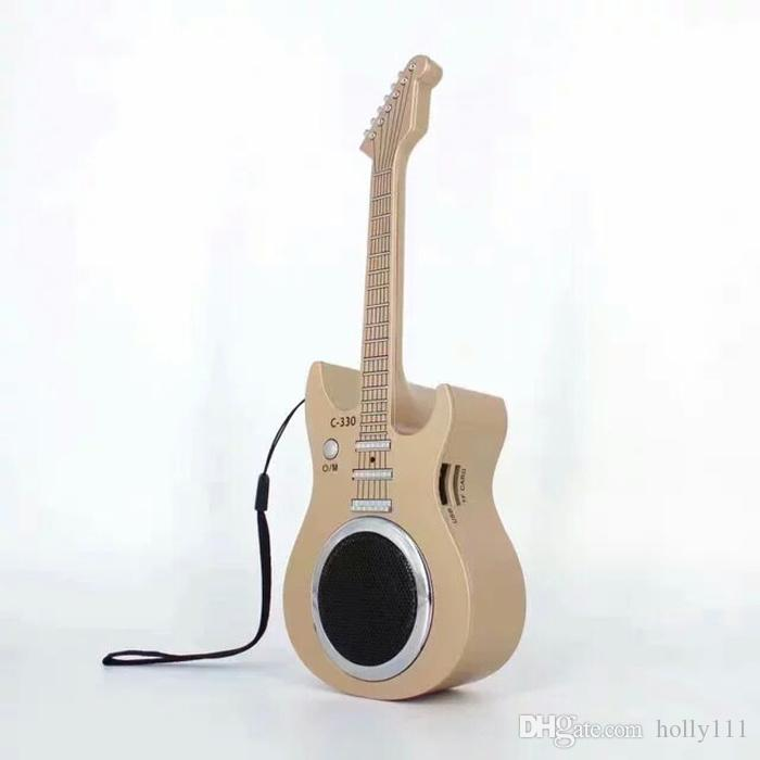 Beauty design guitar speaker earphone stereo bluetooth wireless speaker with usb sd card interface for samsung iphone smart phone