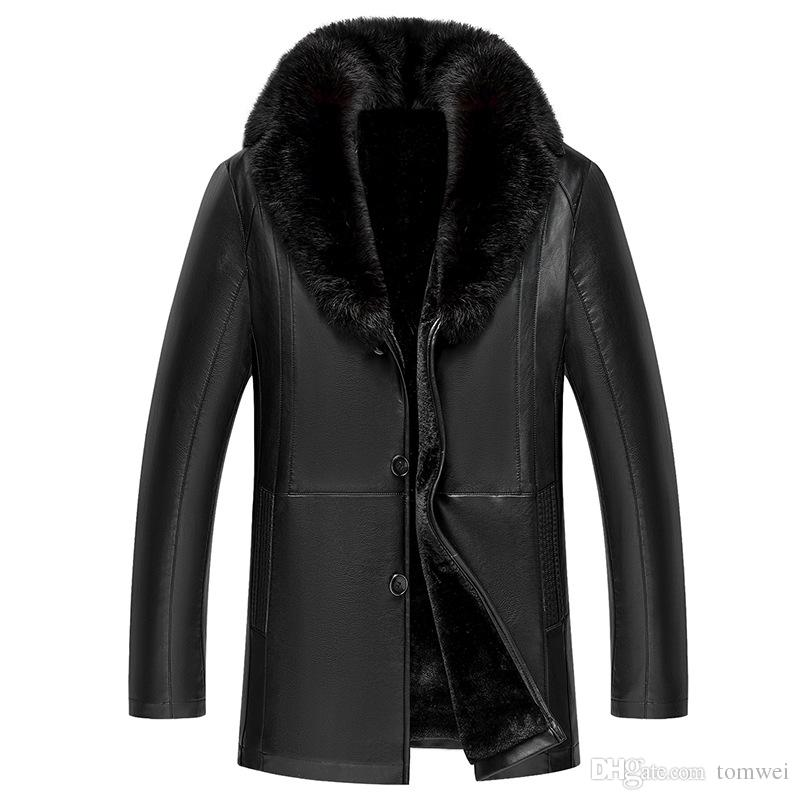 2019 Shearling Jacket Men Fur Coats Winter Leather Jackets Snow