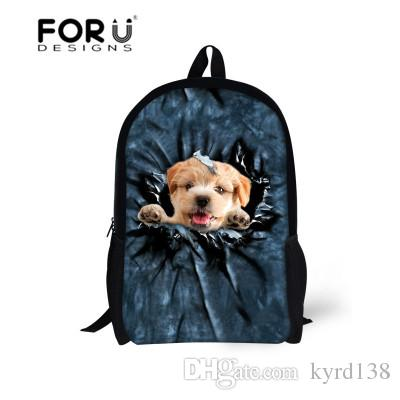 5770ab4013bd FORUDESIGNS 16 Inch Children Backpack 3D Animal Dog Print School Bag ...