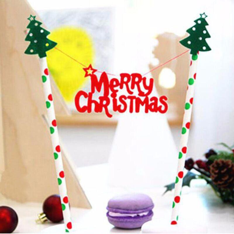 Best Wholesale Merry Christmas Theme Pastry Flag With Paper Straw ...