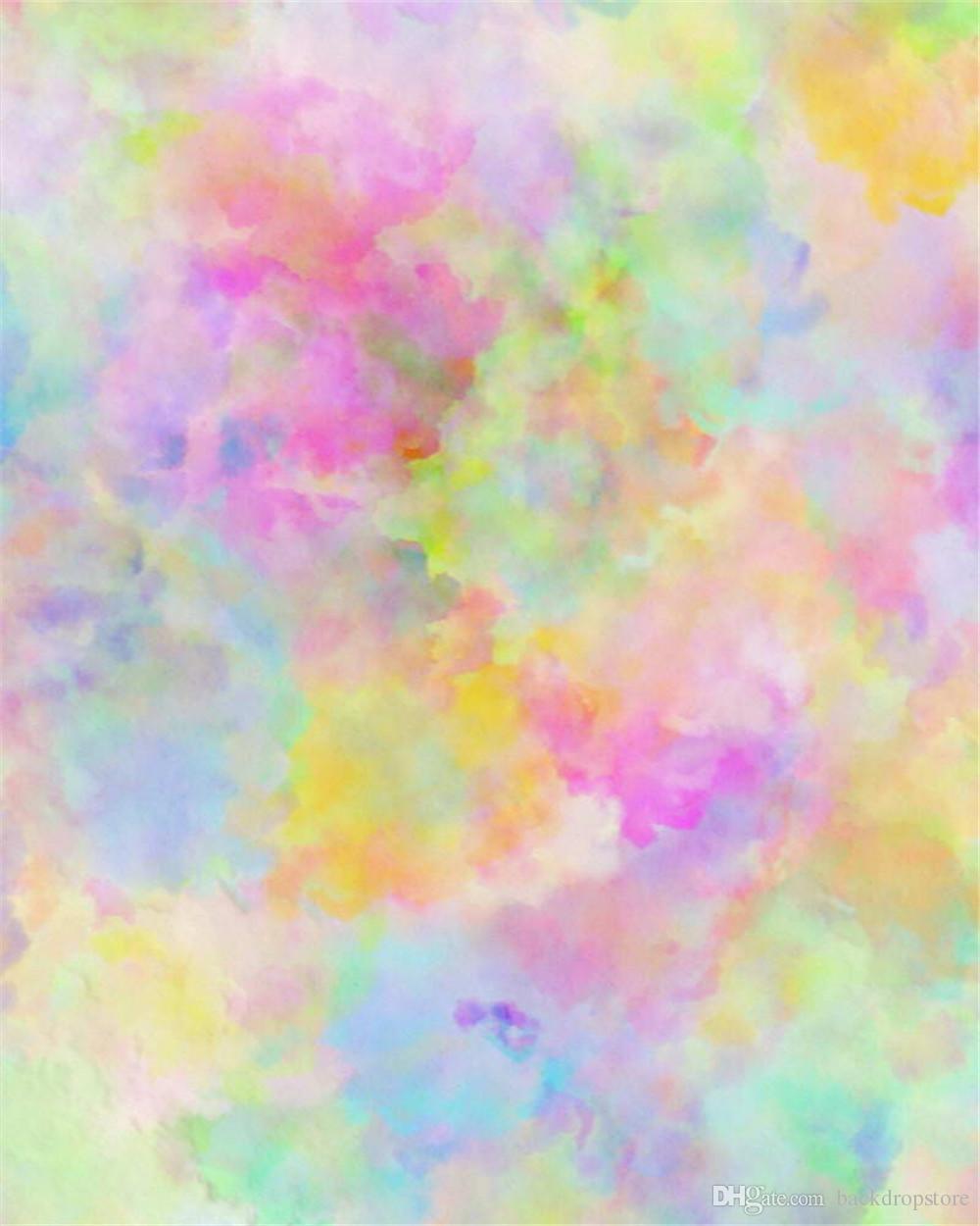 Pink Blue Watercolor Photography Backdrop Digital Printed Kids