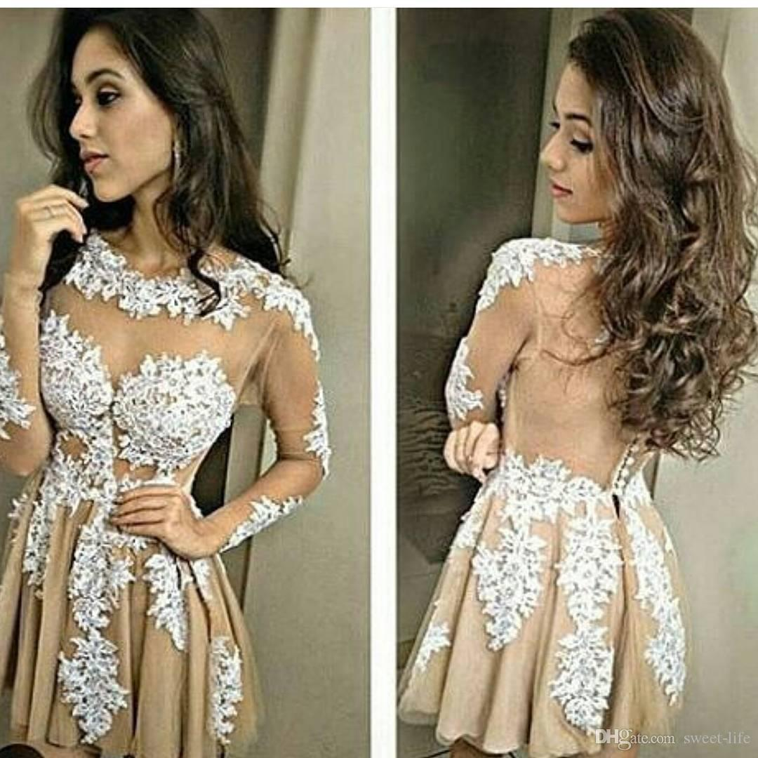 34e05efdba Sexy Champagne Short Party Dresses With Illusion Long Sleeve Sheer Buttons  Back Applique Mini Tulle 2017 Homecoming Semi Prom Cocktail Gowns Club  Cocktail ...