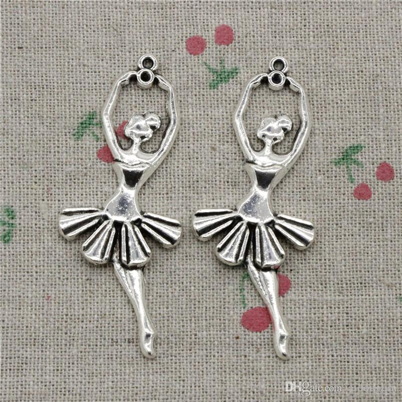 25pcs Charms Antique Silver ballet dancer ballerina 61*2mm Pendant,Zinc Alloy Charms Pendant DIY Makeing Jewelry Bracelet Necklace Fittings