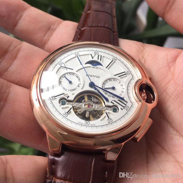 Nueva llegada para hombre relojes de primeras marcas todos los sub-diales trabajo de lujo correa de cuero reloj mecánico automático relojes de pulsera para hombres rejoles mejor regalo