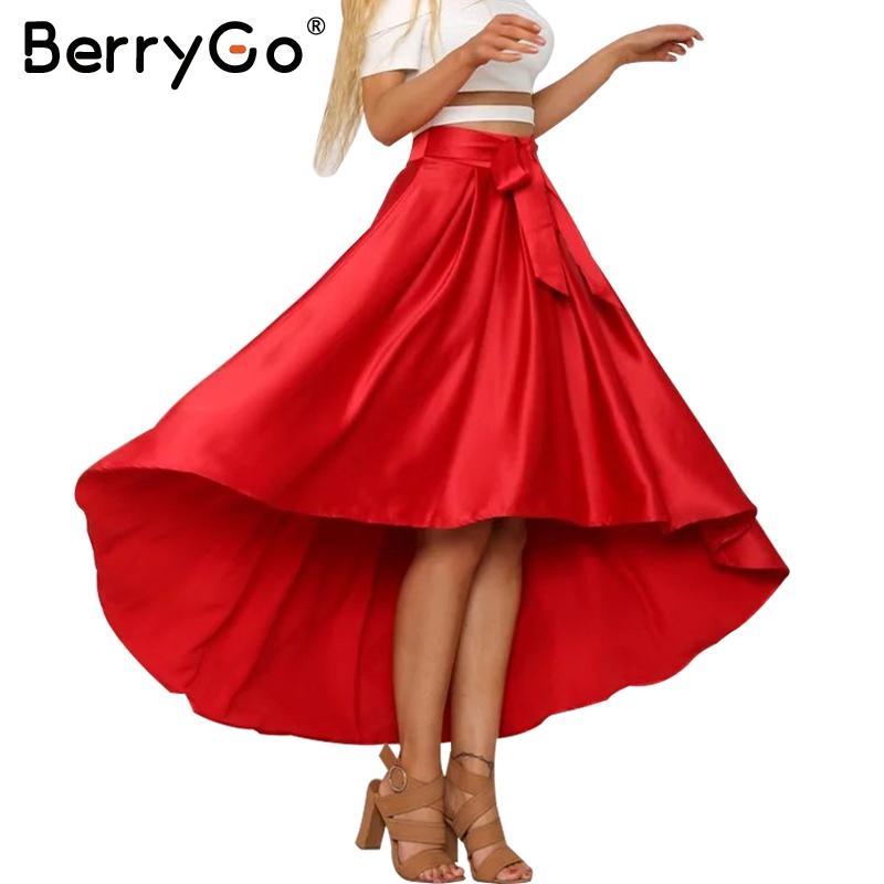 Compre BerryGo Elegante Satén Volante Faja Larga Falda Casual Alta Baja  Negro Suelto Falda De Las Mujeres Fiesta De Cintura Alta De Verano Falda  Roja 17501 ... 4c0473344254