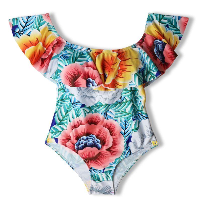 Costume da bagno sexy con spalle scoperte Costume da bagno sexy con toppe Ruffle Plus Size Costume da bagno con perizoma Monokini Swimwear donna intero