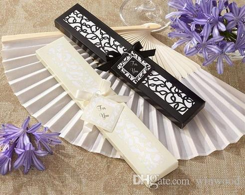Luxurious Silk Fold hand Fan in Elegant Laser Cut Gift Box Black Ivory Party Favors Wedding Gifts Arts and Crafts Home 2017