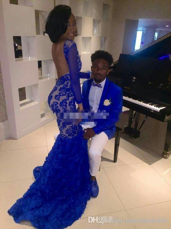 Black Girl 2017 Royal Blue Lace Prom Evening Dresses Mermaid Bateau Illusion Long Sleeves Vestidos de Fiesta Formal Evening Gowns Arabic