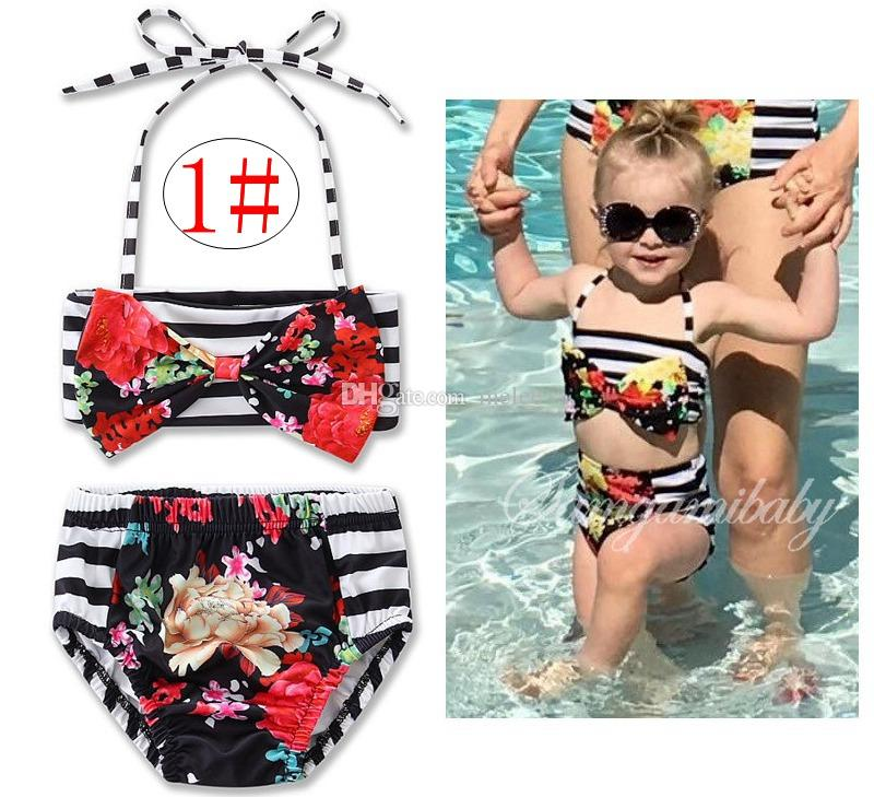 ins Unicorn Girls Floral Swimwear Infant Halter Rompers Swimsuit Childrens Clothing Fashion Two-Pieces Bikinis Beach Bathing Suit Onesies