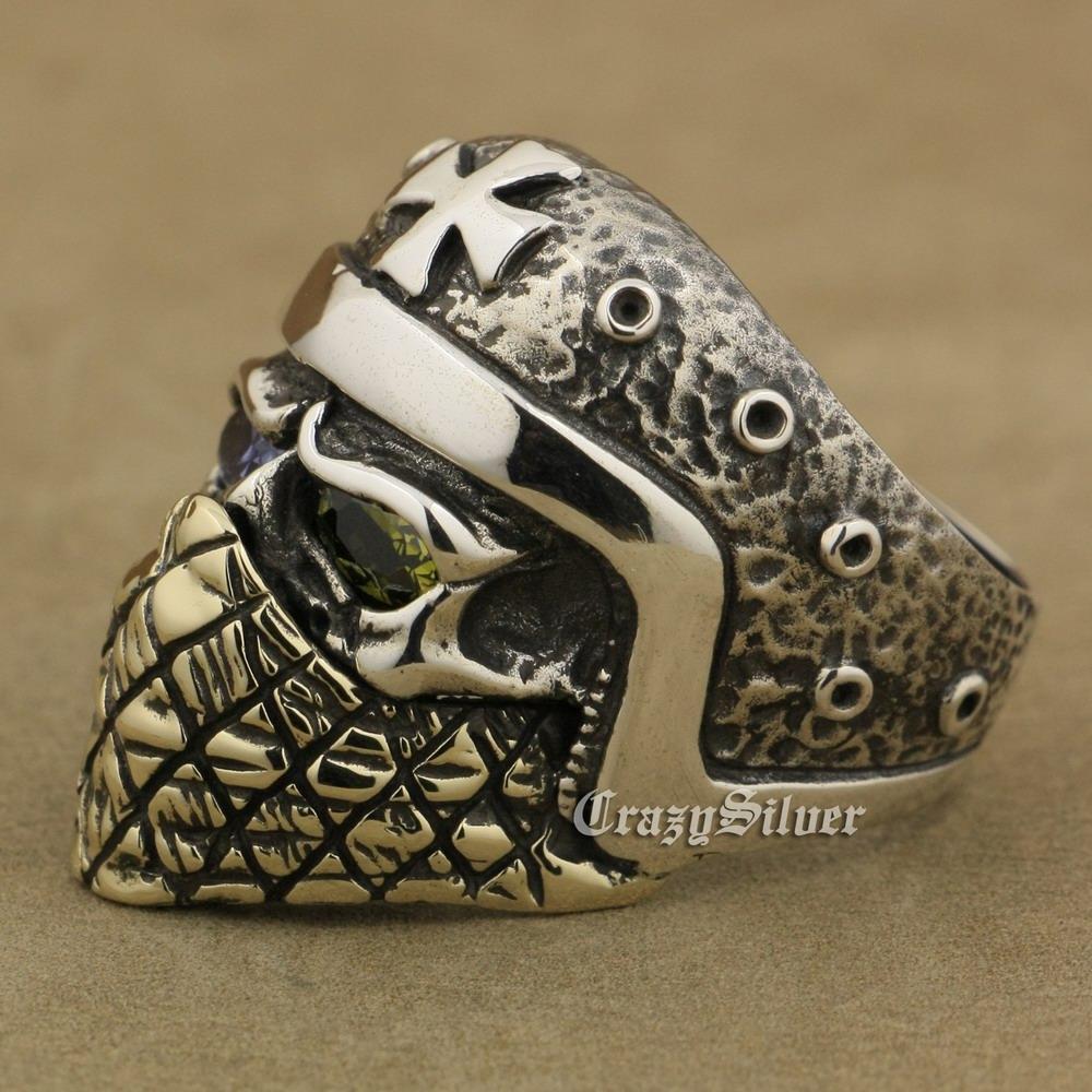 LINSION 925 Sterling Silver Capacete Da Motocicleta Crânio Anel Roxo + OlivaVerde CZ Olhos de Bronze Máscara Dos Homens Motociclista Rock Punk TA30 EUA Tamanho 7 a 15