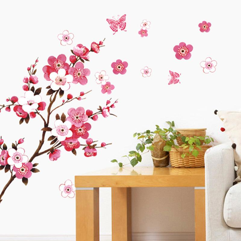 cherry blossom wall stickers waterproof tv background wallpaper