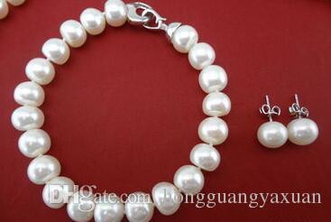 Collier de perles ensemble de 9-10mm collier de perles collier bracelet bracelet boucles d'oreilles