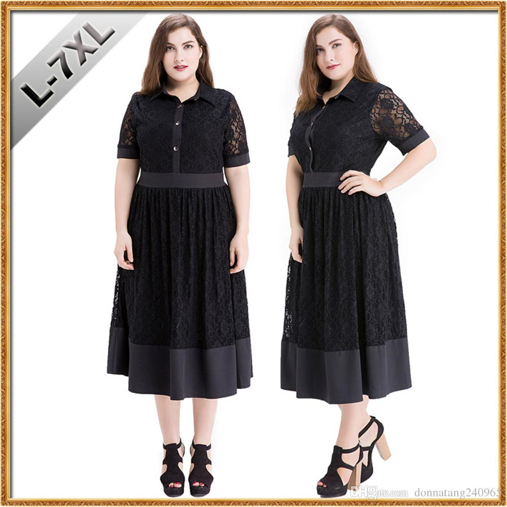 ccd5a6ba8cbcf 2019 XL 7XL Big Size Clothing Vestidos Femininos Fat Women Black Lace Dress  Summer Short Sleeve Elegant Casual Lace Clothing From Donnatang240965