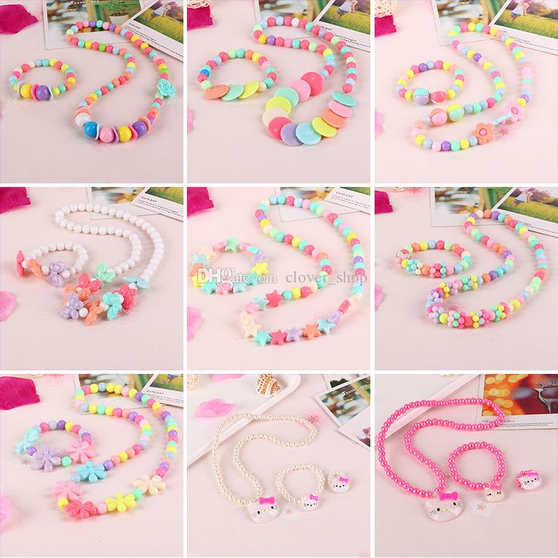 Baby Children Jewelry Set Colorful Beads Cute Kid Princess Necklace Bracelet Handmade Girl Party Cartoon Animal Flowers Jewelries Gift