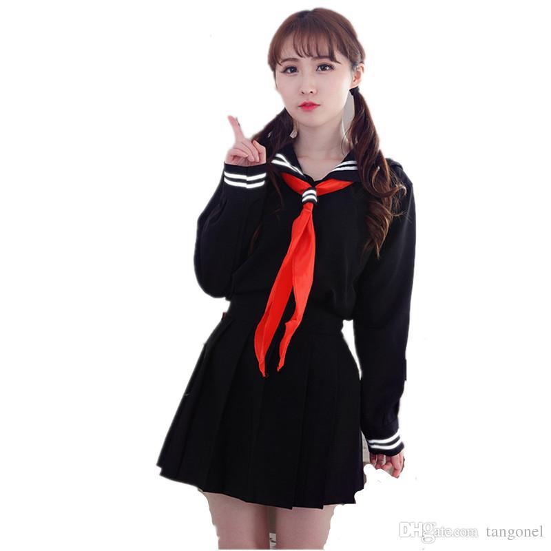 5ed6c7a75 Compre Anime Inferno Menina Senhora Lolita Cosplay Coreano Marinha Japonesa  Marinheiro Uniformes Escolares Camisa Preta + Saia + Lenço Vermelho Terno  ...