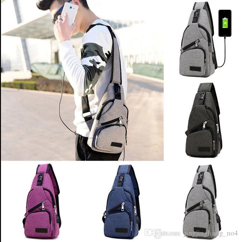 Men Women Chest Pack Bag Crossbody Travel Sport Sling Purse with USB Charging External USB Charging Chest Sling Pack Messenger Bag KKA3157