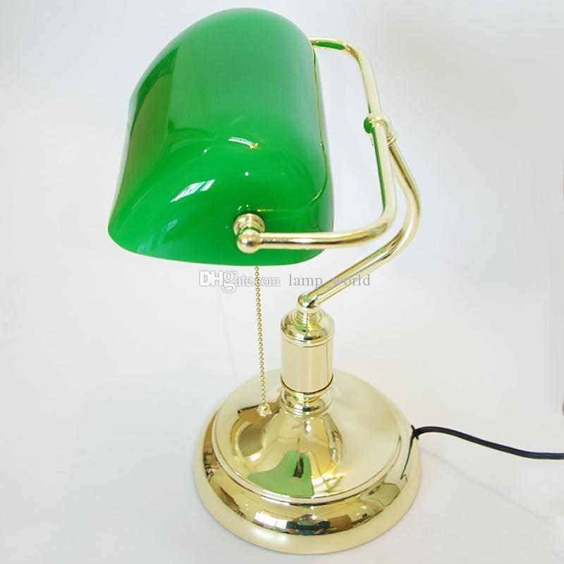 Vintage Bank Table Lamps Retro Brass Bankers