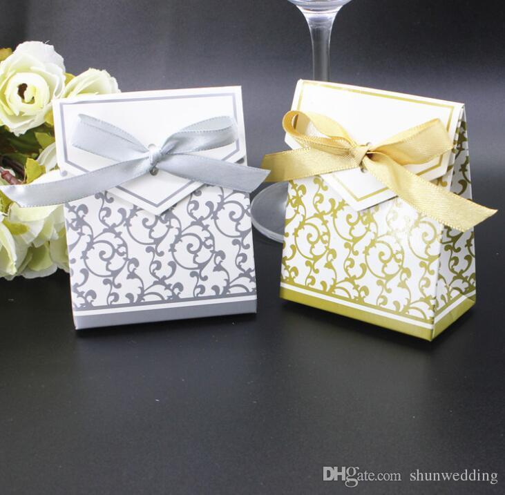 Fashion Gold Silver Wedding Favor Holders Candy Box Wedding Favors