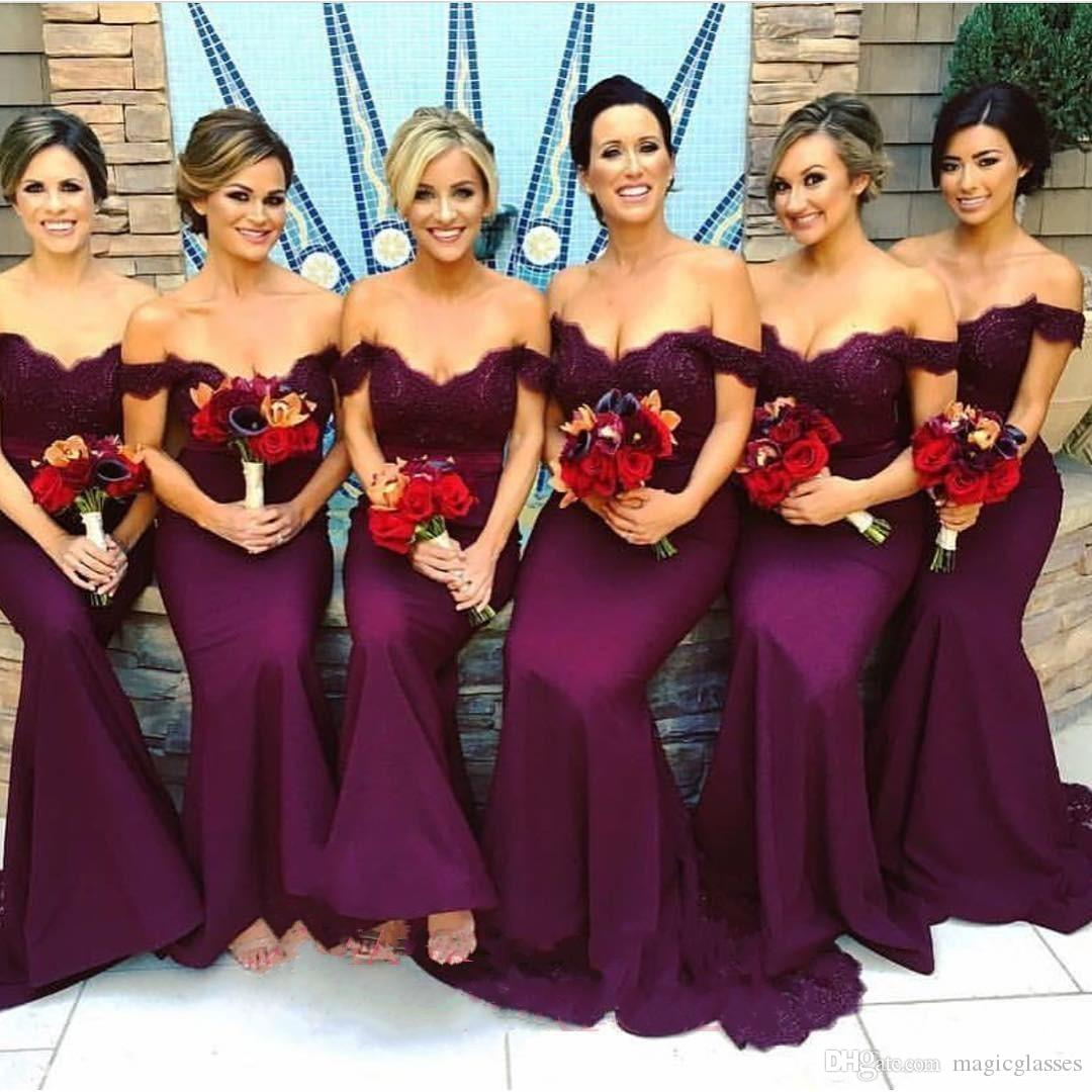 Gorgeous arabic burgundy lace bridesmaid dresses 2018 mermaid off gorgeous arabic burgundy lace bridesmaid dresses 2018 mermaid off shoulder ruffled vintage garden wedding guest maid of honor dress bridesmaids dress ombrellifo Image collections