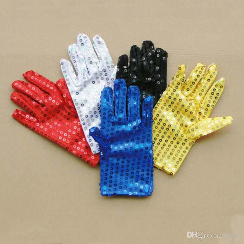 Halloween Sparkle Sequin Wrist Gloves for Party Dance Event Kids Unisex Costume