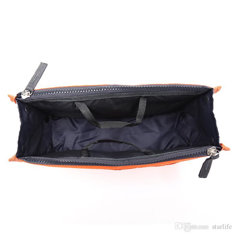 Portable Double Zipper Bag Insert liner purse Organiser Handbag Women Travel Purse Pouch Bag in Bag Organizer
