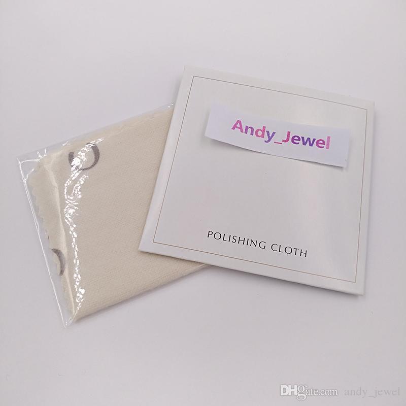 Auténtico al por mayor 925 Paño de pulido de plata esterlina Fit Pandora estilo Joyería Charms Beads Pulseras Limpieza 10x10cm Regalo de embalaje