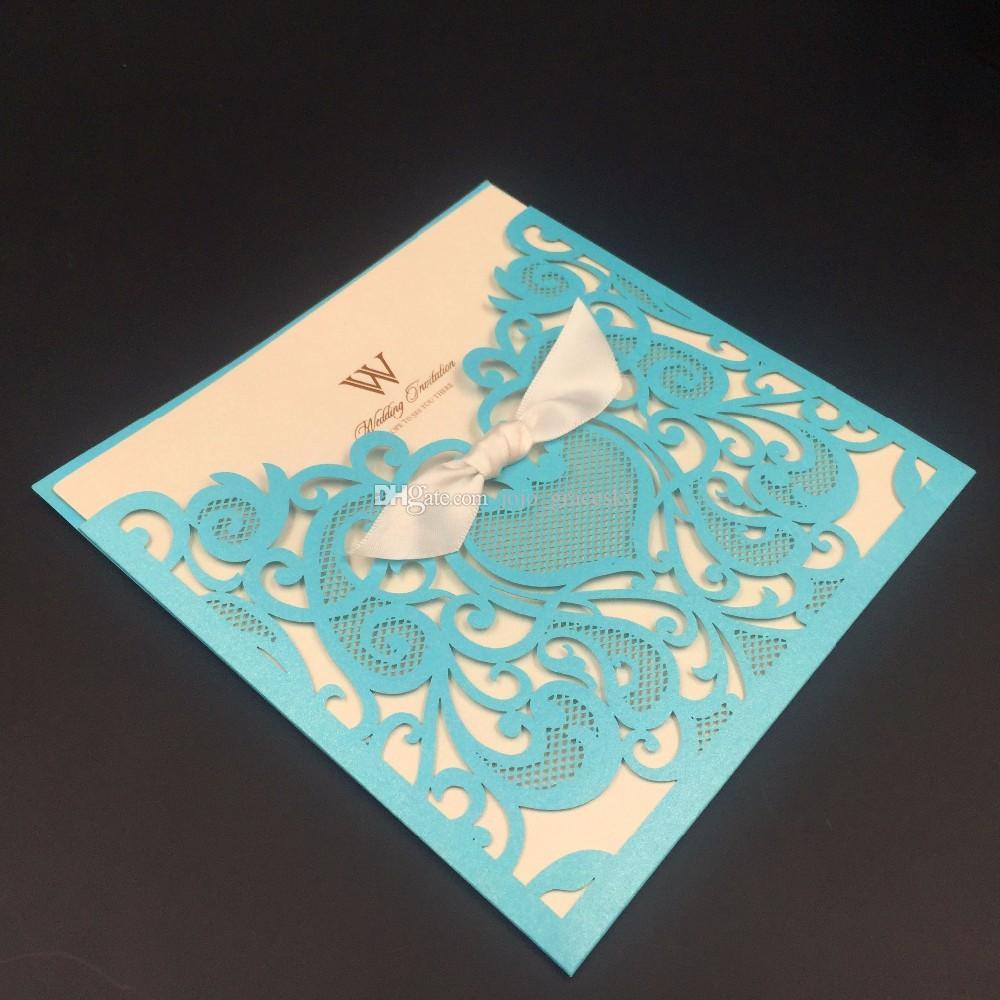 Royal Blue Wedding Party Invitation Card Romantic Cards Envelope Pocket Laser cut Wedding Invitation Card Christmas card