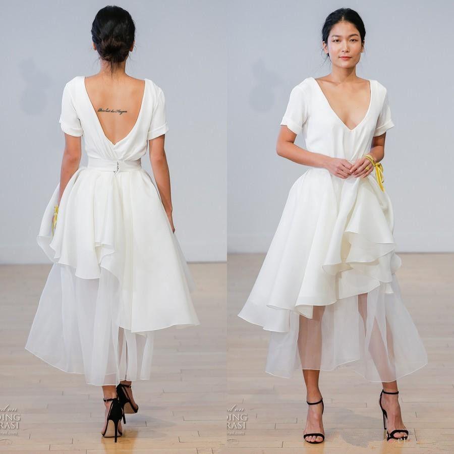 Discount New Style Asymmetrical Short White Wedding Dresses 2017 ...